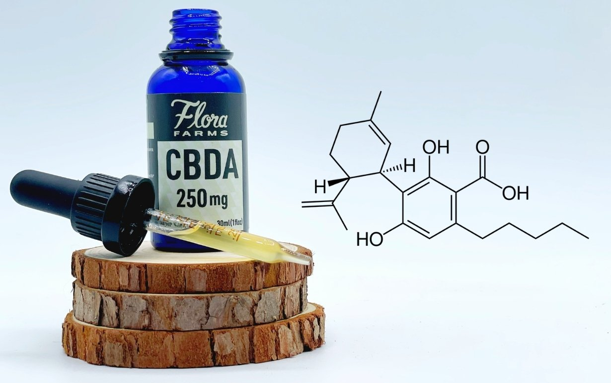 Bottle and dropper of CBDA tincture sit atop three wood slices